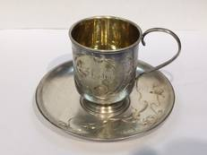 Silver cup and saucer, Tsarist Russia